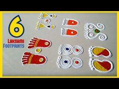 6 type of Laxmi paule in rangoli. laxmi Paul is a basic rangoli design special for beginners and simple and easy rangoli using holy symbols. Rangoli Side Designs, Rangoli Designs Latest, Simple Rangoli Designs Images, Free Hand Rangoli Design, Small Rangoli Design, Colorful Rangoli Designs, Rangoli Designs Diwali, Beautiful Rangoli Designs, Rangoli Simple