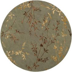 Surya Tamira Hand Tufted Polyester Wool Rug Round 8 x 8 Home Decor Rugs Rugs Floral Area Rugs, Floral Rug, Transitional Area Rugs, Clearance Rugs, Round Area Rugs, Area Rug Runners, Wool Area Rugs, Wool Rug, Green And Gold