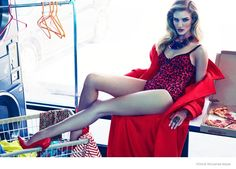 Rosie Huntington Whiteley Gets Luxe in a Laundromat for Vogue Mexico Editorial