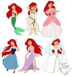 Ariel Outfits. I want the kiss the girl dress. I'd wear ariels pink dress to prom. And yes, I would wear that wedding dress at my wedding