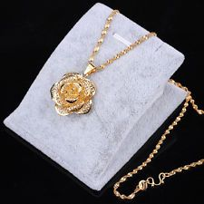 $2.99 - 24K Gold Filled Plated Necklace Flower Pendant Chain