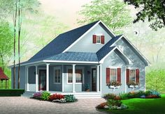 Discover the plan 3108 - Galerno from the Drummond House Plans house collection. Affordable country style house plan, 2 bedrooms, laundry room on main, covered front balcony. Small House Plans, House Floor Plans, Plan Chalet, Country Stil, Drummond House Plans, Country Style House Plans, Large Family Rooms, Traditional House Plans, Cottage Plan