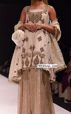 Off-white Silk Suit. Formal and Party Pakistani dresses. Buy Designer formal wear and wedding dresses. Pakistani Dresses Online Shopping, Pakistani Party Wear Dresses, Designer Party Wear Dresses, Indian Designer Outfits, Pakistani Outfits, Online Dress Shopping, Short Frocks, Silk Suit, Pakistani Designers