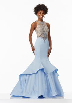 2017 Mermaid Beaded Bodice Satin Sweep Train Prom / Pageant / Evening Dresses
