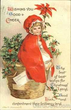Wishing You Good Cheer Series 1887 The best of best wishes for Christmas I send, Good Luck and contentment their brilliancy lend.