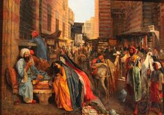 John Frederick Lewis, Street and Mosque of El Ghouri in Cairo, c.1876, Oil on canvas, 76 x 103 cm, Musée du Louvre, Paris