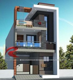 Narrow House Designs Gallery & Visualization Structural Plan and Elevation Designing – Home decoration ideas and garde ideas House Outer Design, House Outside Design, House Front Design, Small House Design, Modern House Facades, Modern Exterior House Designs, Exterior Design, 3 Storey House Design, Bungalow House Design