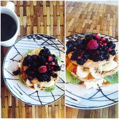 Breakfast pancakes; - 60 g oats - 2 egg whites - 3 tbs cottage cheese -  milk  Banana, kiwi, frozen berries, cottage cheese and jam.