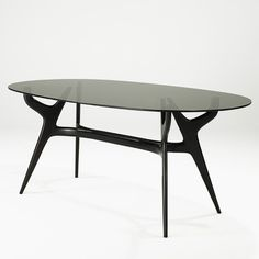 Carlo di Carli; Walnut and Glass Dining Table for Singer & Sons, 1950s.