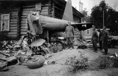 The wreckage of the Soviet Il-2 in a village house. Smolensk region. 1941.-1942