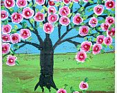 Folk Art Rose Tree, Happy Tree  original painting on upcycled wood, Impasto Tree of life