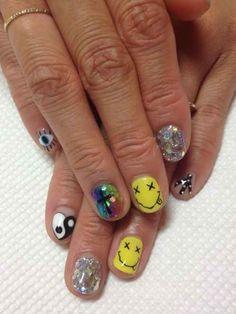 Nail Design Stiletto, Nail Design Glitter, Grunge Nail Art, Rave Nails, Bling Nails, Punk Nails, Cute Nail Art Designs, Japanese Nail Art, Creative Nails