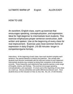 ULTIMATE WARM-UP ESLEnglishALLEN EADYHOW TO USEAn excellent,ESL, English class, warm-up exercise that encourages speaking, conceptualization,...