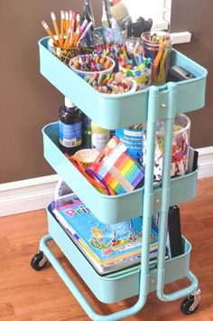 30 fun and unique ways to use an Ikea Raskog cart Crafts and DIY that are fast and easy.let's fun and unique ways to use an Ikea Raskog cartThis Raskog Ikea, Kids Storage, Craft Storage, Toy Storage, Storage Cart, Storage Ideas, Ribbon Storage, Storage Design, Pantry Design