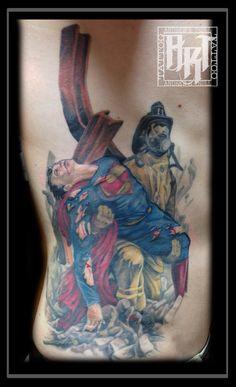 Andrew R Trull/ custom tattoo artist Custom Tattoo, Future Tattoos, I Tattoo, Tattoo Artists, Superman, Watercolor Tattoo, Design, Temp Tattoo