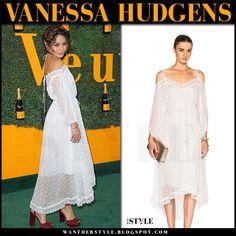 Vanessa Hudgens in white embroidered sheer off shoulder dress