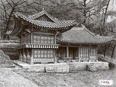 [김영택의펜화기행] 지금은 사라진 정조임금 서재 - 중앙일보 뉴스 Building Drawing, Building Sketch, Building Art, Asian Architecture, Temple Architecture, Architecture Design, Korean Traditional, Traditional House, Korean Painting