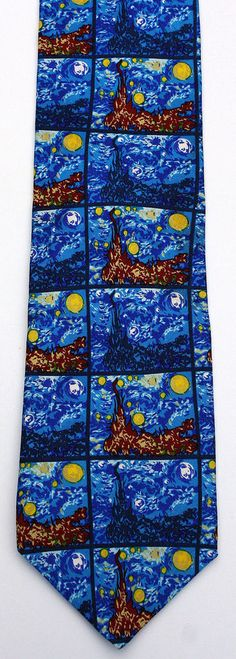 New Starry Night Mens Necktie Van Gogh Artist Painting Fine Art Silk Neck Tie #RalphMarlin #NeckTie