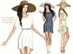 Farm Daughters light dress and hat by Ms Blue for Sims 3 Country Dresses, Country Outfits, Country Girls, Sims 3 Cc Clothes, Sims 3 Cc Finds, Ms Blue, Light Dress, The Sims4, My Sims