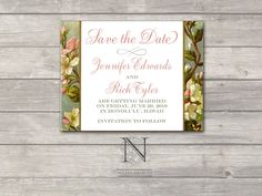 Botanical Garden Wedding Save the Date set  with envelopes - Spring Blossom Border perfect for Garden Party - DEPOSIT. $100.00, via Etsy.  www.nellybean.etsy.com www.nelliadesigns.com #wedding #invitation #WeddingInvitation #NelliaDesigns #SaveTheDate
