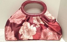 Victoria's Secret Floral Bag Soft Satin Fabric Fixed Faux Snakeprint Handles #VictoriasSecret #clutchcosmetic