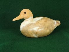 Wood Duck Figurine Carved Wooden Duck Handmade by MicheleACaron