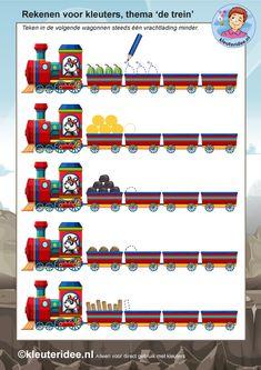 rekenen voor kleuters 2, steeds 1 minder, thema de trein, kleuteridee, free…
