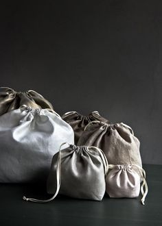 Easy Drawstring Bags in Mineral Linen