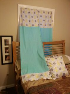 Made these curtains with fabric and hot glue gun