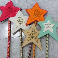 story wands. the kids love to get a chance to explain each story element. // interesting idea