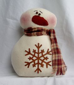 ADORABLE PRIMITIVE VINTAGE VICTORIAN CHRISTMAS PILLOW DOLL SNOWMAN 3D AND BABY