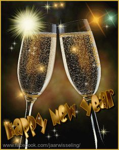 Happy new year. Champagne glasses with twinkle stars. Gelukkig nieuwjaar. DF,