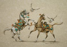 Marine oussedik - Painter - Sculptor  Falcons ink on paper