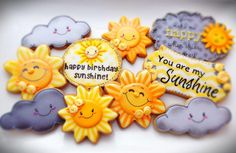 "These would be wonderful, cheerful thank you cookies. - ""You Are My Sunshine"" themed cookies by Compassionate Cake posted at Julia Usher's Cookie Connection. Galletas Cookies, Baby Cookies, Flower Cookies, Baby Shower Cookies, Iced Cookies, Cute Cookies, Easter Cookies, Birthday Cookies, Cookies Et Biscuits"