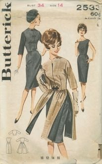 An original ca. 1960's Butterick Pattern 2533.  Cap sleeved sheath, fitted bodice, eased straight skirt.  Waist length fitted jacket.  Frog closing.  Fitted redingote four paneled skirt.