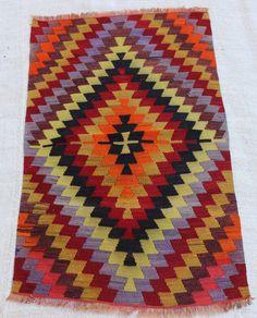 "43""x26'' / 111 x 68 cm  small turkish hamdmade rug kilim, colorful rug, pastel colors rug kilim, pesrian rug inexpensive rug, nomad area rug"