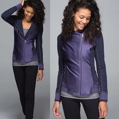 Lululemon Emerge Renewed Jacket Preowned condition. Only worn a few times. 100% authentic.                                                     Stretchy and fitted jacket. Off-centered zipper and logo zippers. Luon fabric with sweat wicking four-way stretch.                                                         •Secure zipper pockets.                               •Thumb holes help keep sleeves down.          •Slim fit. Hip length. lululemon athletica Jackets & Coats