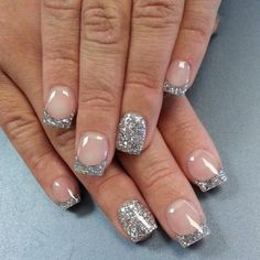 70 Ideas of French Manicure Glitter galore! Make a statement with this sparkly French manicure that uses a clear polish as base and topped with silver glitters to complete the star studded effect. The other nails are also coated in full silver glitter for Sparkly French Manicure, Fancy Nails, Cute Nails, Pretty Nails, My Nails, Hair And Nails, French Nail Art, French Tip Nails, French Manicures