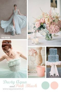 Dusty aqua + pink blush http://sayyesevents.it/2014/07/16/color-inspiration-dusty-aqua-pink-blush/