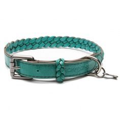 huckleberry aqua leather dog collar