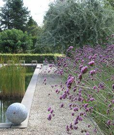 Strakke vijver met betonnen rand en een weelderige beplante villatuin.