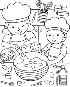 Sample page from 'Color & Cook Story Coloring Book' via Dover Publications ~s~ Pizza Coloring Page, Coloring Book Pages, Printable Coloring Pages, Coloring Sheets For Kids, Adult Coloring, Publicaciones Dover, Pancake Day, Dover Publications, Cooking With Kids
