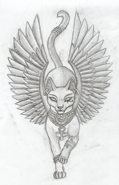 Egyptian cat goddess sketch for tattoo idea Line drawing
