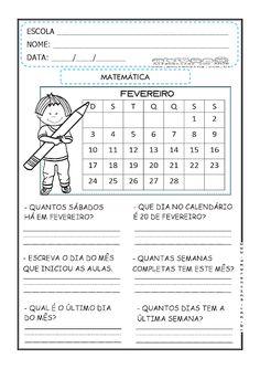 ALFABETIZAÇÃO MATEMÁTICA - ATIVIDADES COM CALENDÁRIO - 1º ANO/2º ANO - Alfabetizar com AMOR Curriculum, Periodic Table, Education, School, Life, Math Charts, Letter P Activities, Teacher Lesson Plans, Math Worksheets