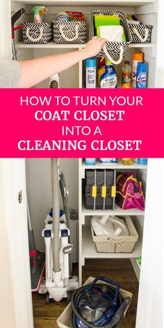 The most organized space in our home used to be one of the biggest messes. See how the coat closet now holds all our cleaning and household supplies, from lightbulbs to the vacuum! #housekeeping #housecleaning #organization #organizedhome #DIY