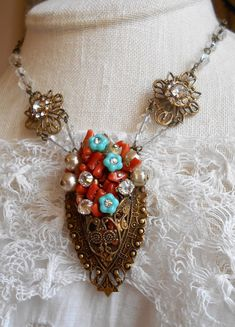 Vintage Jewelry Crafts Vintage assemblage necklace Victorian basket of branch coral pearls rhinestones turquoise Czech flowers one-of-a-kind jewelry by Triolette by triolette on Etsy - I Love Jewelry, Charm Jewelry, Jewelry Art, Jewelry Ideas, Jewlery, Shabby Chic Jewelry, Vintage Jewelry Crafts, Filigree Jewelry, Beaded Jewelry