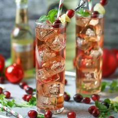 2 oz cranberry flavored vodka 1 oz ginger liqueur (such as Domaine de Canton) 2 oz cranberry juice 3 oz good ginger ale *optional: cranberries, candied ginger and mint sprig for garnish
