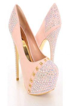 Nude Gold Rhinestone Studded Platform Pump Heels.www.thailandlifestyleproperties.com