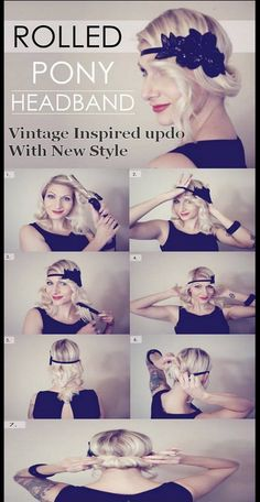 Wedding Hairstyles With Headband Gatsby Hair 54 Ideas Wedding H. - Wedding Hairstyles With Headband Gatsby Hair 54 Ideas Wedding Hairstyles With Head - Retro Hairstyles, Headband Hairstyles, Girl Hairstyles, Wedding Hairstyles, Headband Bun, Flapper Hairstyles, Easy Hairstyles, Hair With Headband, Gatsby Hairstyles For Long Hair