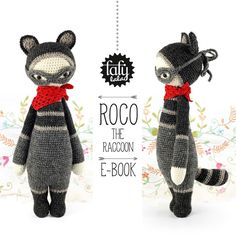 *Ceci est un patron PDF – PAS le doudou fini de la photo !*   Dites bonjour à ROCO!  ROCO a toujours voulu être un héros. En hommage à ses grandes idoles Zorro et Robin Des Bois son costume de...